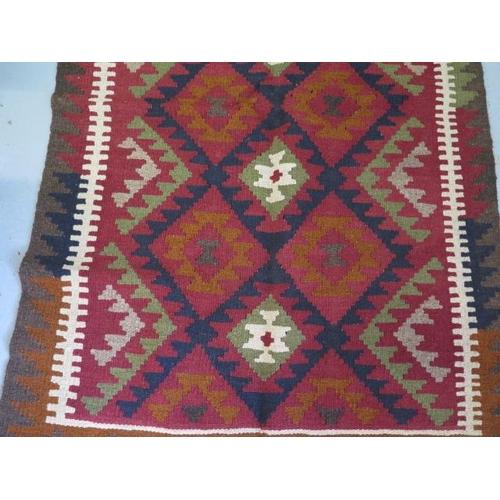 207 - A hand knotted woollen Maimana Kilim rug, 135cm x 92cm
