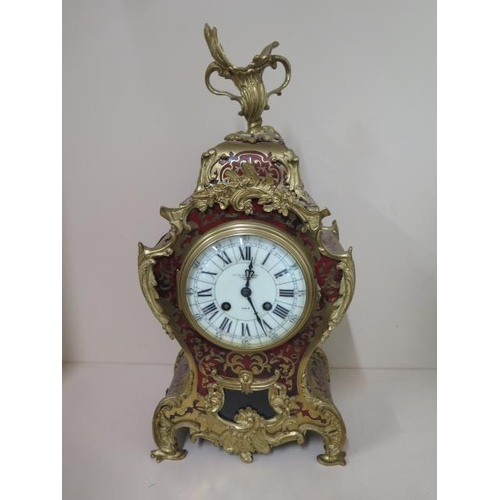 151 - A French Japy Freres Boulle mantle clock, striking on a gong, the dial signed Goldsmiths Company Reg...