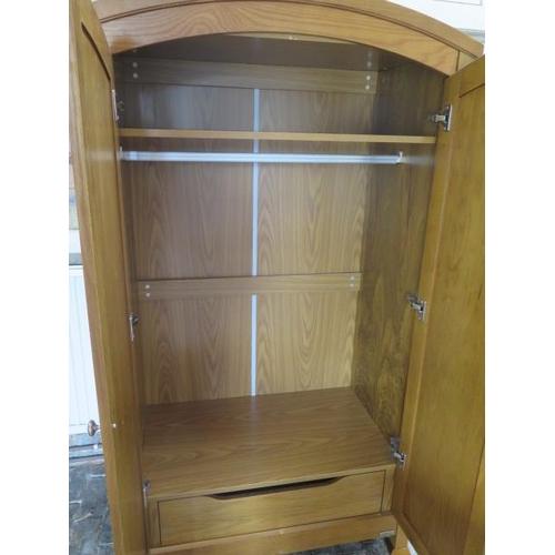 18 - An oak effect wardrobe with internal drawer by Izziwotnot, 182cm tall x 102cm x 56cm