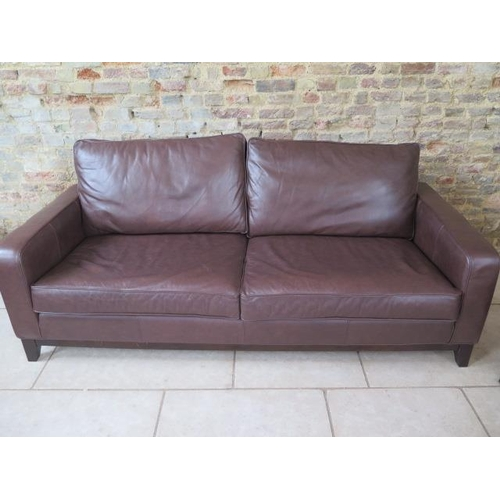 2 - A Multiyork three seater sofa in soft brown leather in good condition, 210cm wide x 97cm deep...