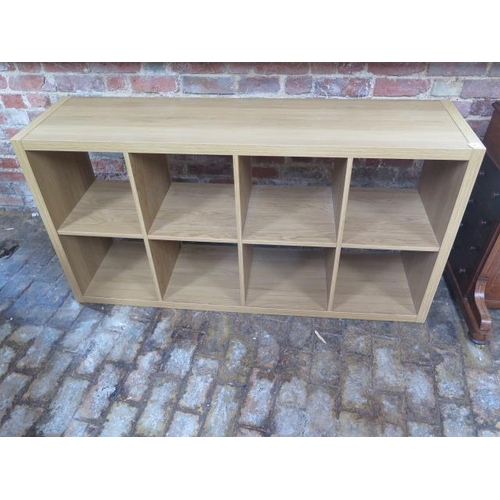 20 - A wood effect shelf unit, 77cm x 147cm x 39cm...