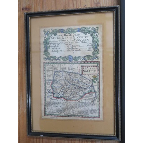 242 - A John Speed coloured map of Bedfordshire in a modern frame, generally good and colours bright, fram...