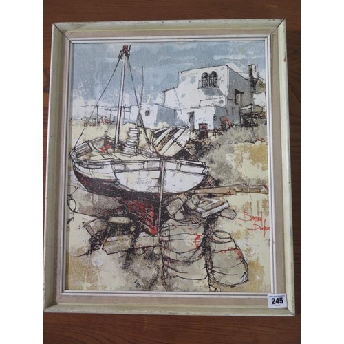 245 - An oil on canvas, Sailing ships, signed Bernard Dufour, frame size 52cm x 43cm, in good condition wi...