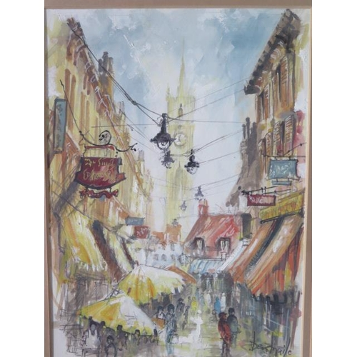 246 - A watercolour of a street scene, signed Ben Maile, in a gilt frame, size 51cm x 40cm, in good condit...
