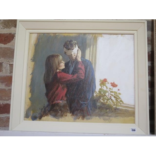 248 - Oil on board by illustrator Len Thurston for the novel Double Harness 1934-2015, in a painted frame ...