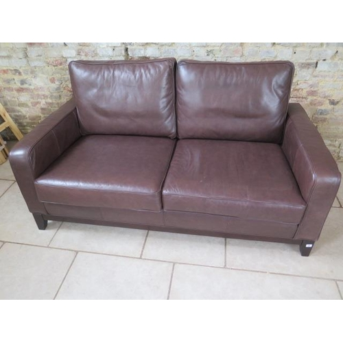 3 - A Multiyork two seater sofa in soft brown leather, in good condition, 178cm x 97cm deep...