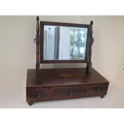 52 - A 19th century inlaid mahogany toilet mirror with three drawers on turned feet, 48cm tall x 51cm x 2...