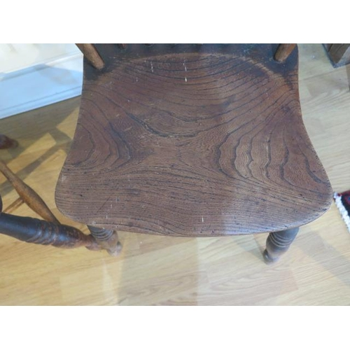 63 - A pair of 19th century ash and elm stick back chairs, 86cm tall, seat height 42cm, both in good usab...