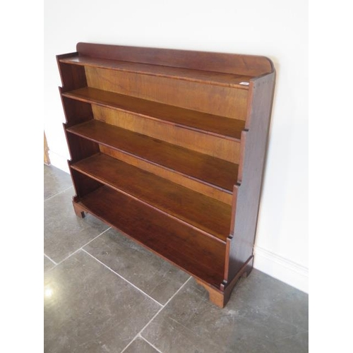 74 - Early 20th century waterfall bookshelves, 99cm tall x 110cm x 27cm, in polished condition