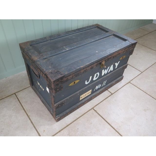 71 - An early 1900's zinc lined wooden Campaign trunk, 52cm tall x 92cm x 54cm
