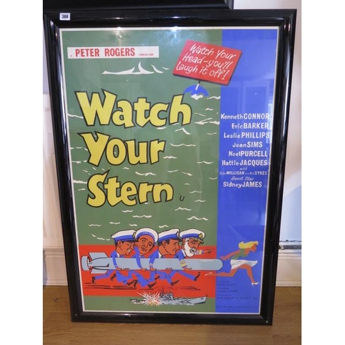 An Anglo Amalgamated Film Distributors Ltd film poster for the comedy Watch Your Stearn, frame size 110cm x 77cm in good condition and no folds
