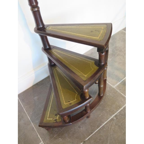 3 - A Victorian style mahogany library steps, 113cm tall, some wear to steps otherwise generally good