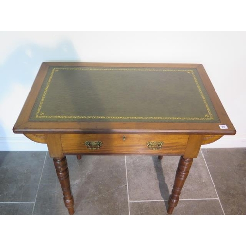 57 - An Edwardian mahogany side table with a leather insert top and a frieze drawer, 78cm tall x 92cm x 5...