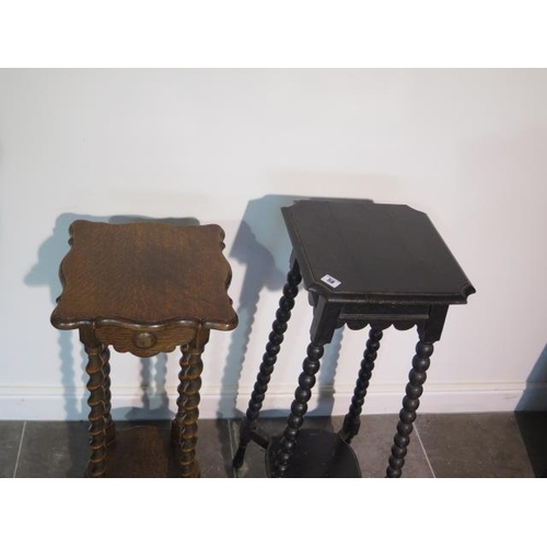 58 - Two 1930's oak jardinere stands, 81cm tall x 34cm and 83cm tall x 32cm