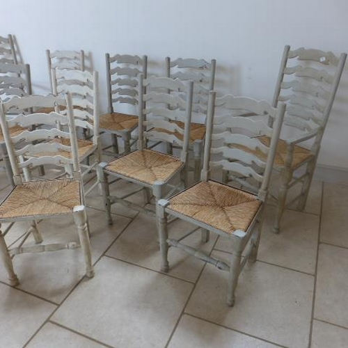 1 - Ten painted ladder back dining chairs including two carvers in usable condition