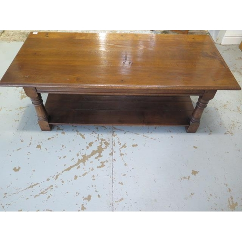 2 - A good quality oak coffee table with a nice patina, 130cm long x 60cm wide x 46cm high