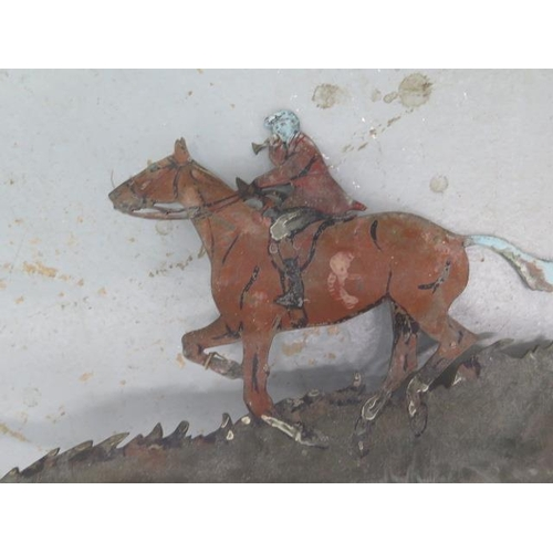 22 - A vintage weathervane in shape of a huntsman, arrow 84cm long, height 65cm from hat to bottom of pol...