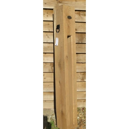 30 - A new green oak bicycle lock post, 157cm tall x 19cm x 19cm with plaque and ring plate
