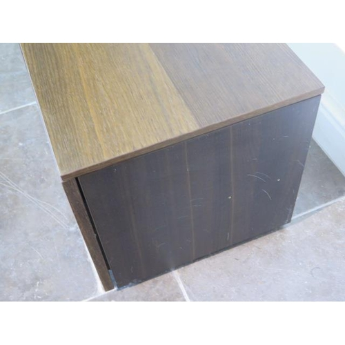 39 - A teak TV unit with a drawer, 40cm tall x 108cm x 40cm