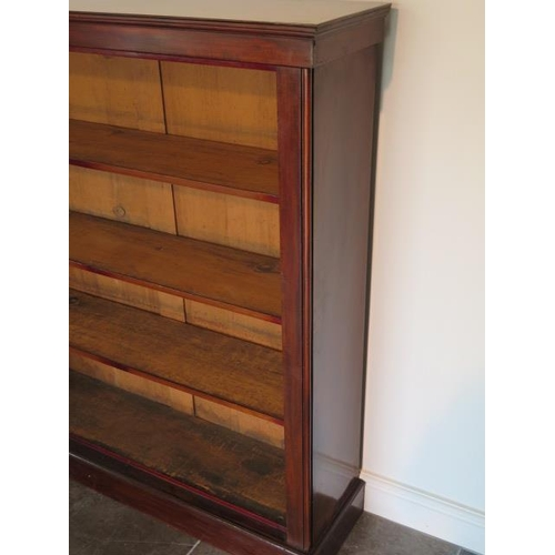 72 - A Victorian mahogany open bookcase with three adjustable shelves in good condition, 129cm tall x 120...
