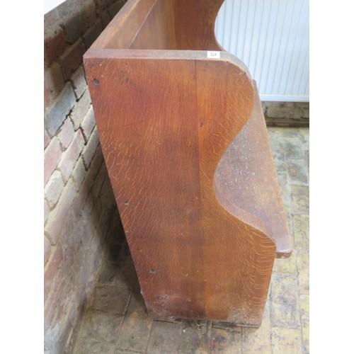 52 - An oak settle hall bench, 100cm tall x 118cm x 49cm