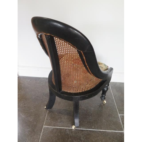 74 - A Victorian ebonised mother of pearl inlaid caned bergere childs side chair, 77cm tall x 40cm wide, ...