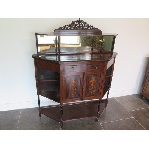 77 - A 19th century rosewood side cabinet with two inlaid doors, 122cm wide x 150cm tall x 38cm deep