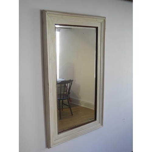 16 - A shabby chic painted wall mirror, 110cm x 64cm