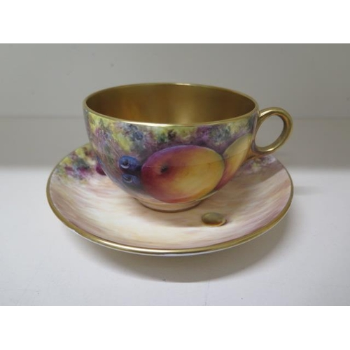 A G Delaney fruit decorated tea cup and saucer, both signed, 7.5cm tall x 16cm diameter, some small scratches but generally good