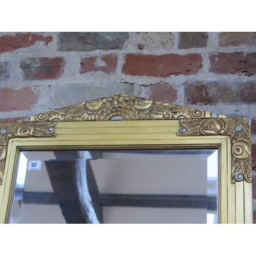 52 - A French decorative gilt mirror, 104cm tall x 66cm