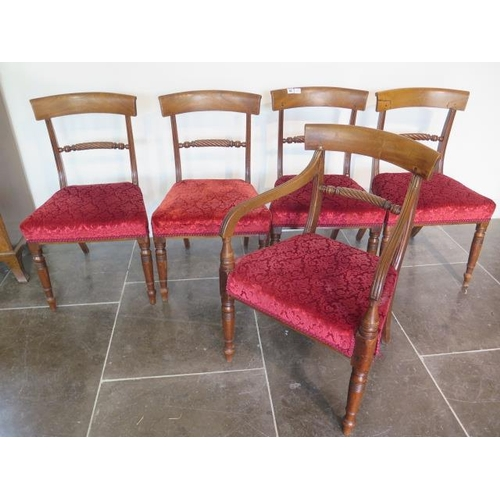 62 - A set of five 19th century mahogany dining chairs with rope twist backs on turned front legs includi...