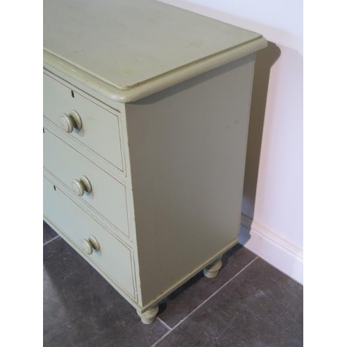 69 - A well painted Victorian pine four drawer chest on turned feet, 85cm tall x 85cm x 46cm