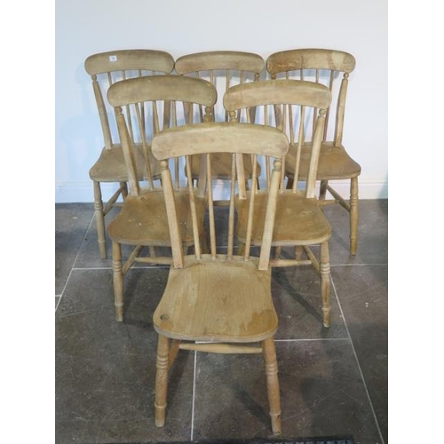 72 - A set of six Victorian stick back ash and elm kitchen chairs, all generally sturdy,
