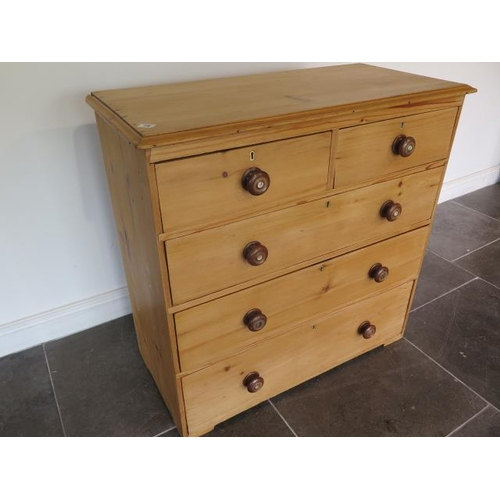 79 - A 19th century pine chest with two short over three long drawers, 96cm wide x 94cm tall, in good con...