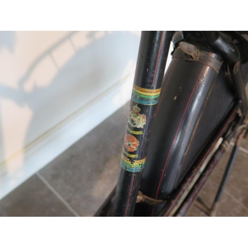 1 - A Vintage Dutch STRAALJAGER tandem bicycle with drum front and rear brakes, magneto lights in origin...