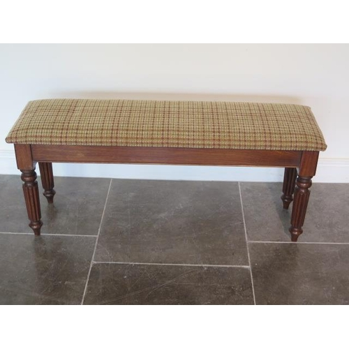 19 - A new mahogany upholstered 19th century style window seat made by a local craftsman to a high standa...