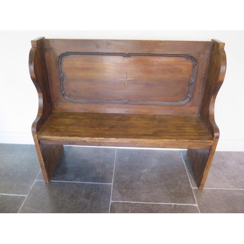 21 - A new rustic pine hall bench incorporating some old timber, 100cm tall x 120cm x 40cm, made by a loc...