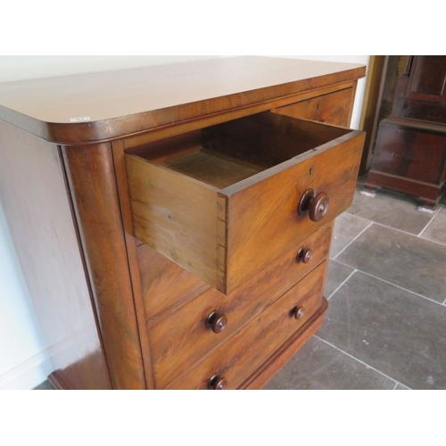 51 - A 19th century flame mahogany chest with two short over three long drawers with rounded corners, in ...