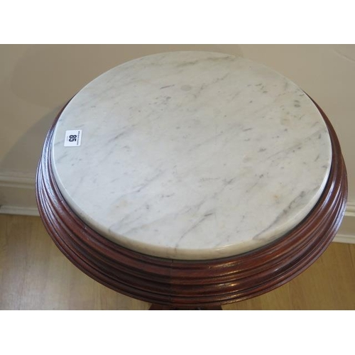 85 - A Victorian marble top mahogany Jardinière stand 76 cm tall 45 cm diameter  in good condition