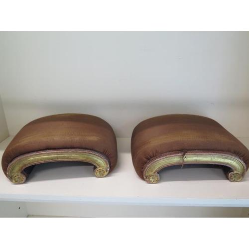 90 - A pair of 19th century gilt scroll foot stools, 14cm tall x 38cm x 28cm