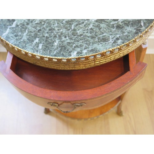 86 - A Walnut Ormulu mounted marble top side table with a small drawer , 67 cm tall 47 cm wide in good co...