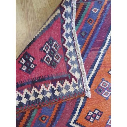 210 - A hand woven woollen Qashgai Kilim, 2.45m x 1.85m, in good condition