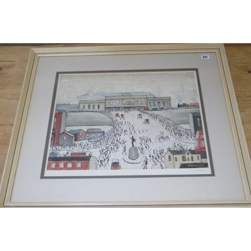 241 - L.S. Lowry (1887-1976), Station Approach, signed lithograph, picture size 40cm x 51cm, frame size 67...