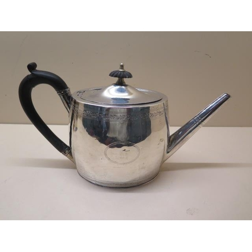 513 - A George III silver teapot, London 1797, maker H G - Henry Greenway, 16cm tall x 29cm long, approx 1...