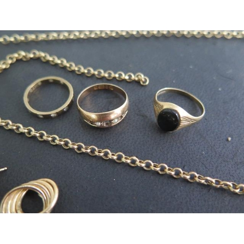 612 - Two hallmarked 9ct gold chains, 35cm and 41cm long, three 9ct rings (2 missing stones), and a pair o...