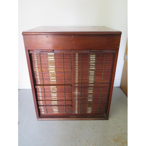 A good Victorian tambour front mahogany microscope slide cabinet with 80 drawers with brass label plates and handles, 92cm tall x 77cm x 60cm, drawers are 35cm wide x 48cm deep and 1.5cm tall, contains some slides