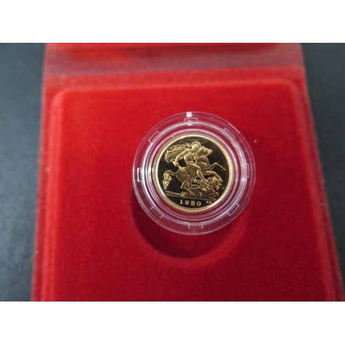 854 - A 1980 Elizabeth II gold half sovereign boxed with certificate