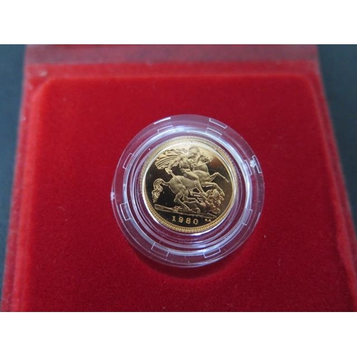 855 - A 1980 Elizabeth II gold half sovereign, boxed with certificate