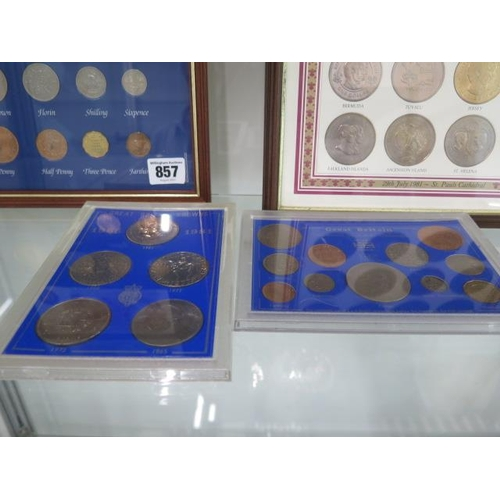 857 - Four framed British coin and banknote collections