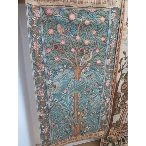 203 - A classical design needlepoint wall hanging, 140cm x 121cm, a machine tapestry and a needlepoint bel...